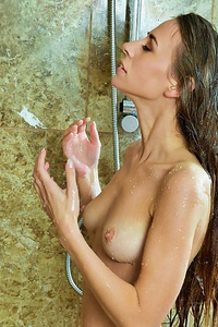 Hot Brunette Under The Shower